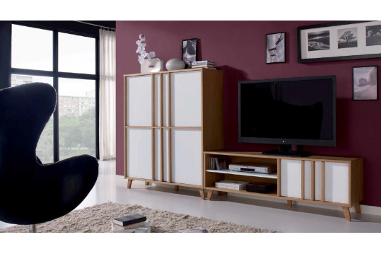 Meuble tv bas moderne blanc ivoire collection mondrian - Meuble patine blanc ivoire ...