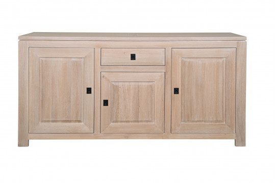Buffet massif contemporain en ch ne blanchi boston hellin - Buffet chene massif contemporain ...
