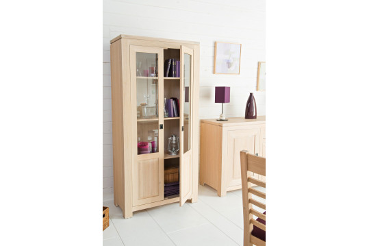 vitrine en bois et verre coloris ch ne blanchi hellin. Black Bedroom Furniture Sets. Home Design Ideas