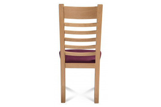 Chaise en bois - Chêne blanchi Boston - Assise Prune