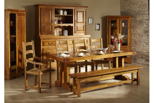 table louis philippe en bois massif l 220 cm chene fran ais hellin. Black Bedroom Furniture Sets. Home Design Ideas