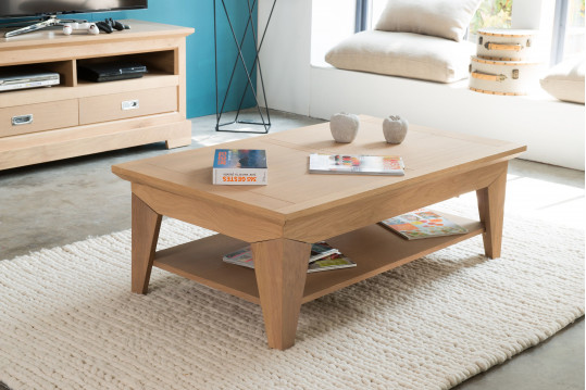 Table basse de salon au design moderne en bois massif hellin for Meuble 120x60